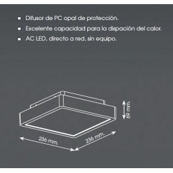 METALARC OUTSET NTL SQUARE  LED 18W 3000K BLANCO