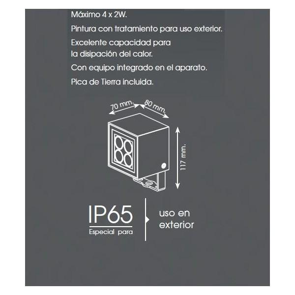 METALARC  PROYECTOR LED SPOT NTL GRAFITO 4X2W 3000K