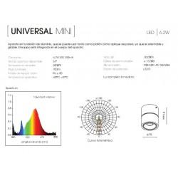 UNIVERSAL MINI  BLANCO LED  6.2W 3000K  METALARC PLAFÓN- APLIQUE