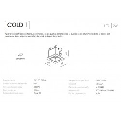 EMPOTRABLE COLD 1 METALARC 2W 48º 3000K BLANCO