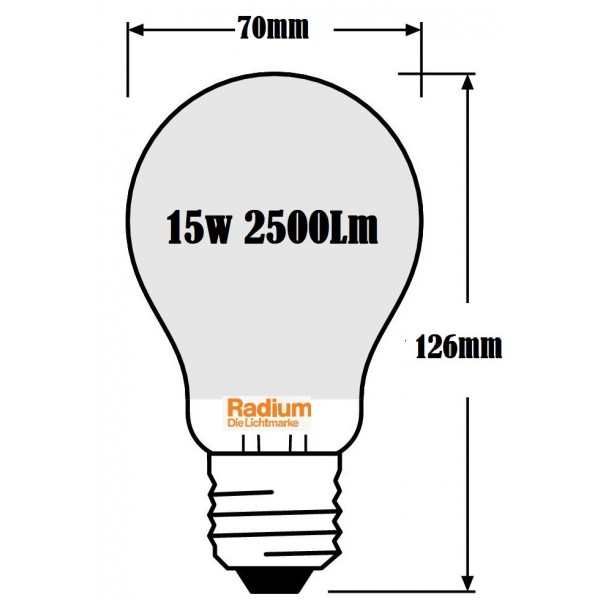 BOMBILLA LED  STANDARD RADIUM 15W 2500Lm E27