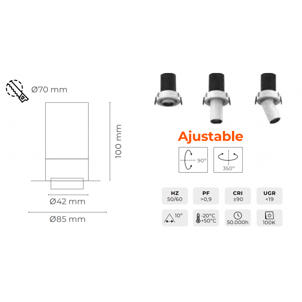 EMPOTRABLE LED KOPA S 7W 560Lm